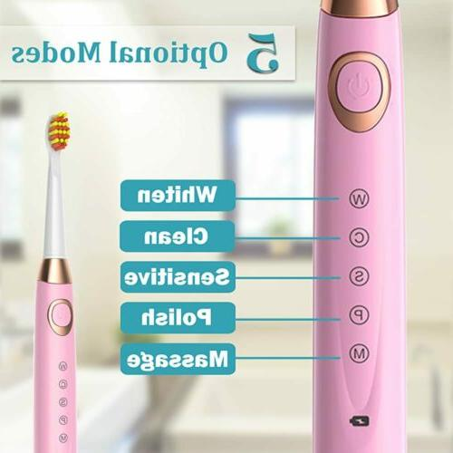 Sboly 2pcs Electric Toothbrush 5 Brush Rechargeable