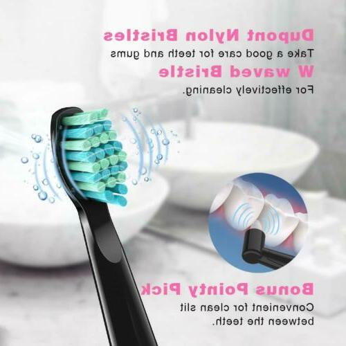 Sboly 2pcs Toothbrush 5 Optional Modes Brush Rechargeable